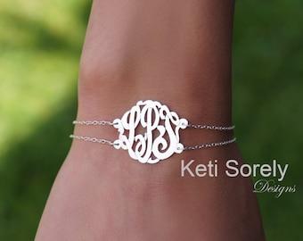Double Chain Monogram Bracelet, Initials Bracelet or Monogram Anklet (Order Any Initials) - Sterling Silver