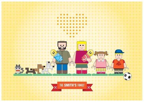 Family portrait Lego characters Poster Art Lego Illustration Poster - family custom portrait - A3 poster art - family inspired in LEGO toys