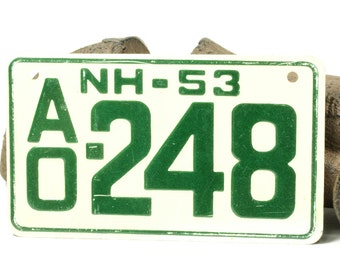 Vintage Green and White Bicycle License Plate For New Hampshire 1953