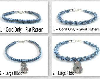 Type 1 Diabetes Awareness Bracelet, Macrame, Custom Juvenile Diabetes, Macrame, Grey Awareness Charm with Red Heart