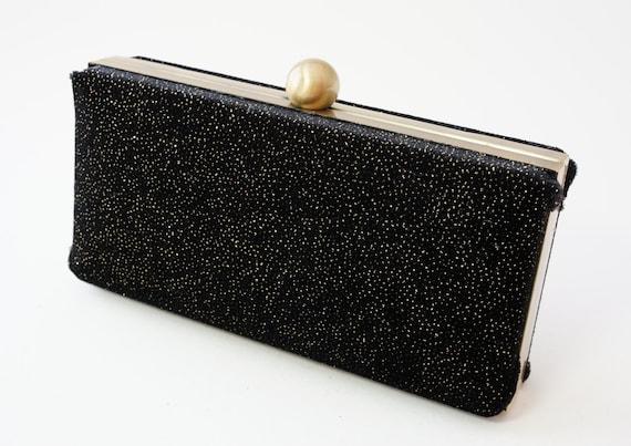 Gorgeous Black Shimmer Velvet Minaudière Box Clutch - Evening/Formal/Prom/Wedding Handbag - Includes Chain - Ready to Ship