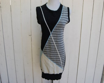 GEOMETRIC SWEATER DRESS Striped Knit Charcoal Blue Knit Woven Dress
