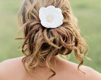 Bridal Silk Flower Clip with Gold Crystal. Bridal Headpiece. Bridal Flower Hair Accessory.