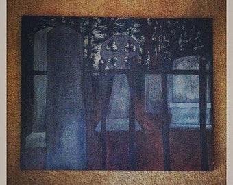 Stark- Original acrylic on canvas cemetary painting