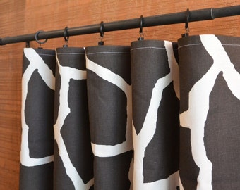 One or Two Window Treatments Curtains Drapery Panels 24W or 50W x 63, 84, 90, 96 or 108L Giraffe Java Natural shown