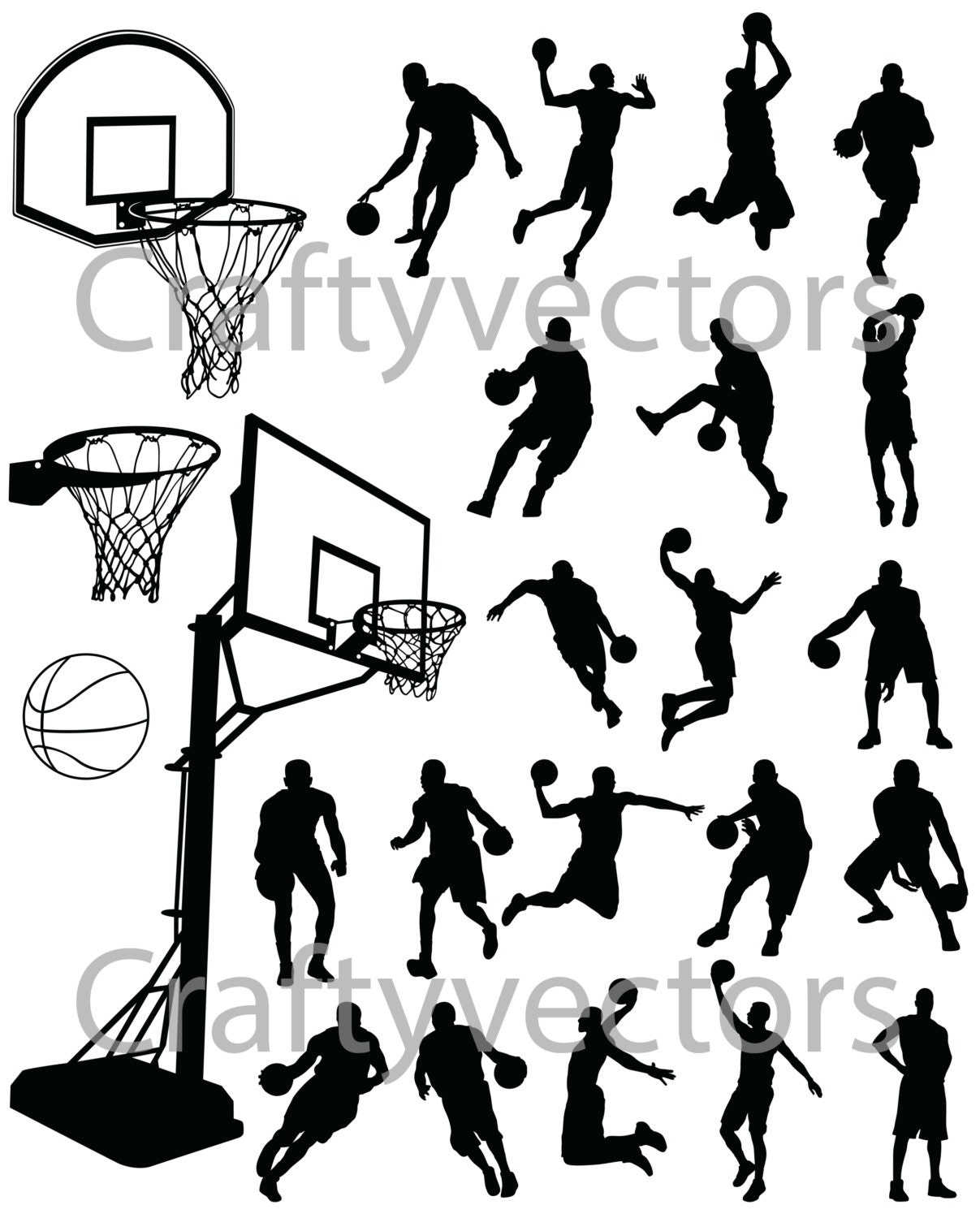 Basketball Silhouettes Vector Svg File