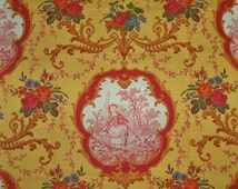 PIERRE DEUX KRAVET French Country Medallions Toile Fabric 10 Yards Goldenrod Red Multi