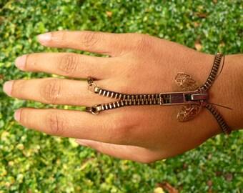 Steampunk Moth Zip-On Bracelet - Handflower Bracelet - Steampunk Jewelry