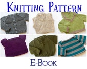 PDF Knitting Pattern E-Book - Six Baby Sweaters, Pullover, Infant Cardigan, Baby Toddler Knitting Patterns, Baby Pullover Patterns