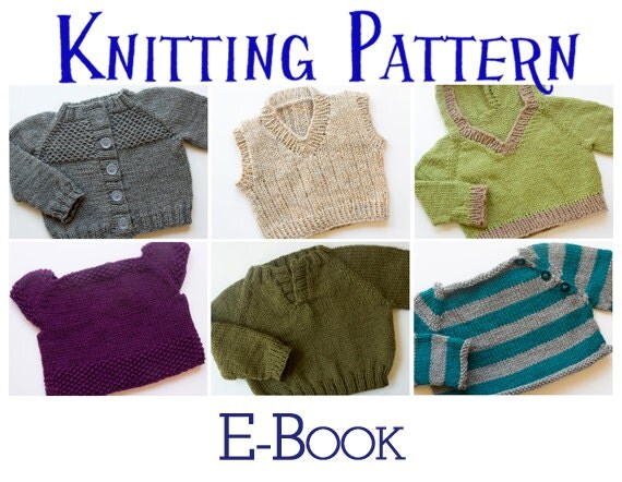 Knitting Sweater Design Book Pdf : Pdf knitting pattern e book six baby sweaters pullover