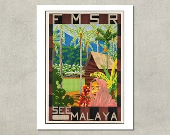 See Malaya - FMSR Travel Poster, 1934 - 8.5x11 Poster Print - also available in 11x14 and 13x19 - see listing details