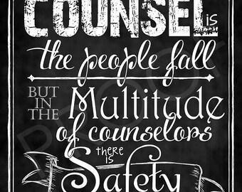 Scripture Art - Proverbs 11:14 Chalkboard Style