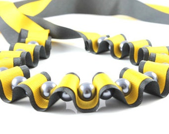 Ribbon Jewellery, Grey and yellow ribbon statement necklace