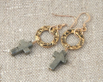Lucy Earrings: Pyrite crosses on antique gold plated pewter rings; 14k gold fill ear wires