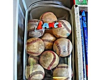 PRINT of Baseballs, Old Baseballs Art, Old Lance Jar Print, Nostalgic Print, Old Baseball Print, Boys Room Art, Baseball Wall Decor, KORPITA