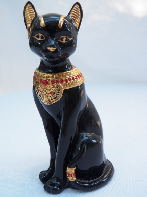 Vintage Lenox Porcelain Egyptian Bastet Regal Black Cat With