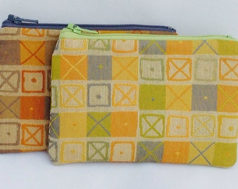 Eames Geometric Zippered Coin Purse Wallet Upcyled Upholstery