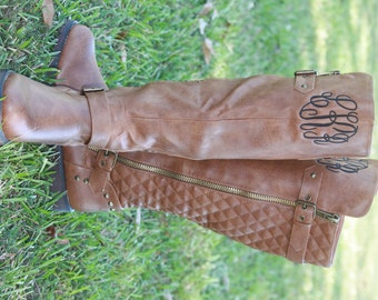 Monogrammed Boots Women's Personalized Quilted Riding Boots