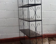Vintage Metal Shelving Unit Faux Woodgrain Metal Shelf