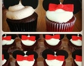 Fondant Mickey and Minnie Mouse Inspired Cupcake Toppers
