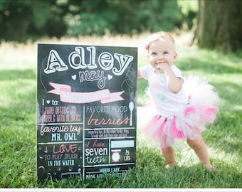 First Birthday Chalkboard Poster with Milestones,Girl's Birthday Printable, No. 308