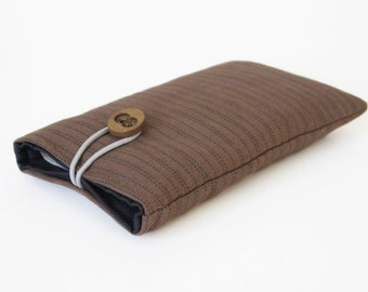 handmade sleeve for iPhone 4S case cover fabric bags brown blue striped