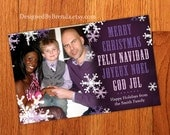 Large Holiday Christmas Photo Cards or Postcards - Multilingual or Bilingual Option - Snowflake Overlay - Purple can be any color