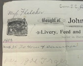 Vintage 1903 Receipt for Renting a Horse and Carriage - Livery, Feed and Stables