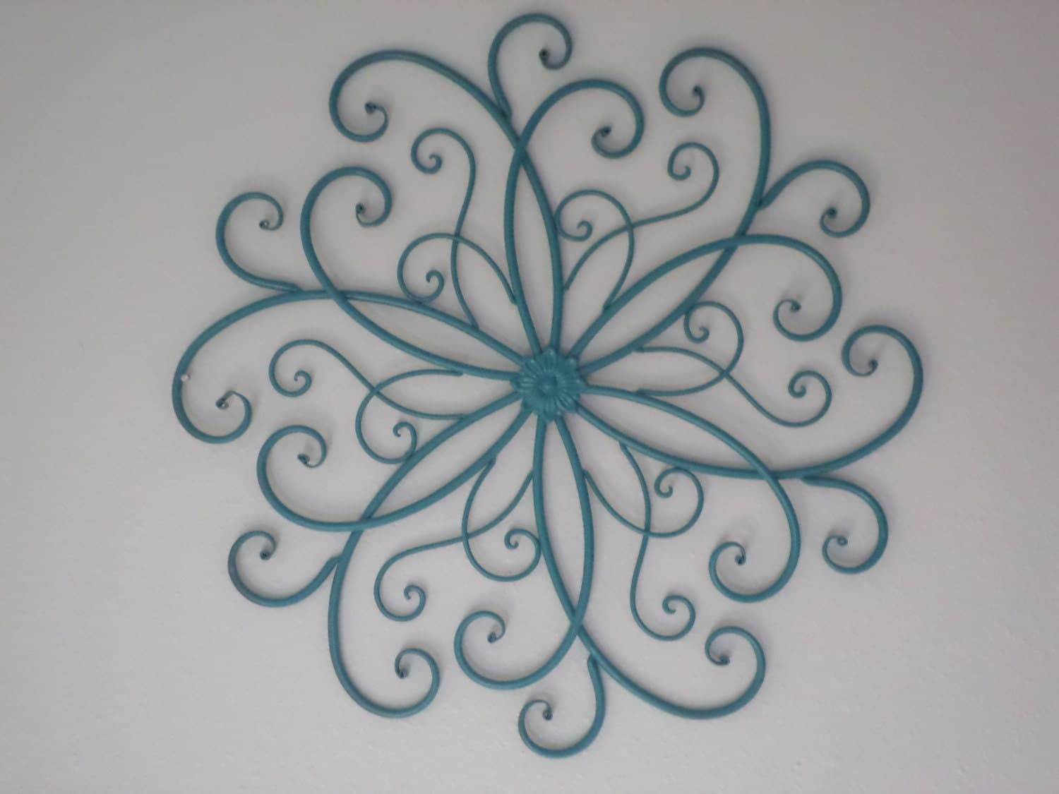 Shabby chic teal metal scroll wall decor iron by for Iron scroll wall art