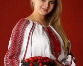 Women vyshyvanka. Traditional Ukrainian embroidered women's blouse. Ethnic sorochka. Ukrainian national clothes. XS- XXXL, Cotton or linen