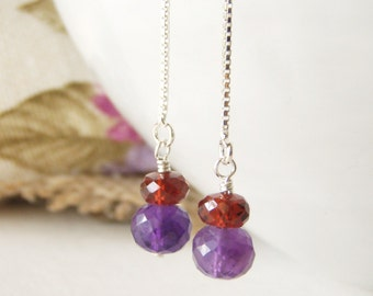 Amethyst & garnet thread earrings, sterling silver jewelry