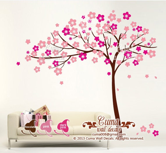Vinyl wall decals pink tree wall decal fower Nature Tree