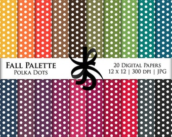 Digital Scrapbook Papers-Fall Palette Polka Dots-Autumn-Thanksgiving-Fall Clipart-Backgrounds-Wallpaper-Printable-Instant Download Clip Art