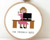 2 x Friendly Boss Cross stitch pattern. Gift for wife or best boss. Office decoration. Pixel people pattern. Office wall art
