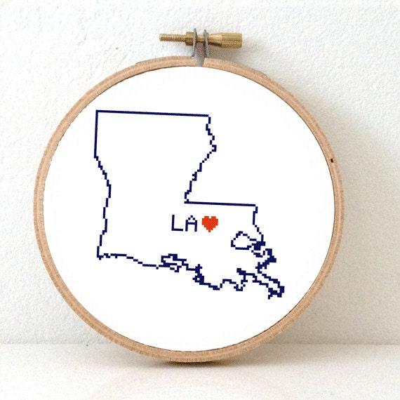 LOUISIANA Map Cross Stitch Pattern. Louisiana art pattern. Louisiana ornament pattern with Baton Rouge. LA decor. Wedding gift.