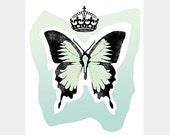 Mint Butterfly Art Print Original Digital Illustration Mixed Media Wall Art Mint Green Blue Soft Light Pastel Pale 8x10
