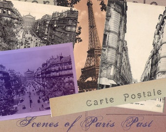 Vintage Paris Postcard Images - Sepia and Ombre Tinted - Digital Collage Sheet