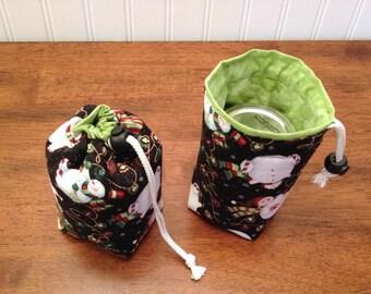 READY TO SHIP Mason Jar Carrier Bag, Half Pint Single Jars to Go holiday print bag carrier pouch cozy gift bag