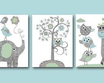 Owl Decor Baby Nursery Decor Baby Boy Nursery Art Nursery Wall Art Kids Room Decor Kids Art Elephant Nursery set of 3 Owl Blue Gray /