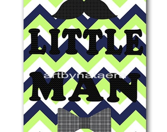 Little man Baby Boy Nursery art print Children Wall Art Baby Room Decor Kids Art Nursery Decor Boy Baby Wall Art blue green little man