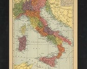 Vintage Map Italy From 1943 Original