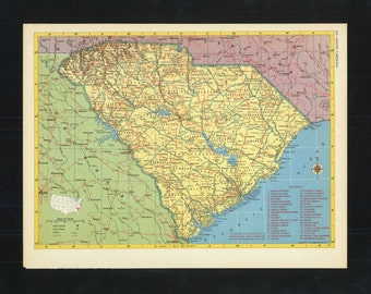 Vintage Map South Carolina From 1953 Original