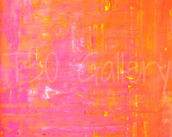 Left and Right, 2013 - Original Acrylic Artwork Modern Contemporary Abstract Painting Wall Decor Free Shipping Pink Orange White 18x24