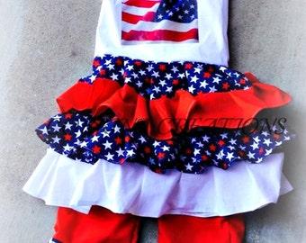 Patriotic, July 4th, RWB, OTT Ruffle Capri Set, Pageant Wear size NB 3  6 9 12 24 months, size 2 3 4 5