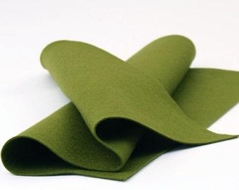 "100% Wool Felt Sheet in Color OLIVE - 18"" X 18"" Wool Felt Sheet - Merino Wool Felt - Premium Craft Felt"