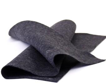 """Wool Felt Sheet - 100% Wool Felt in color HEATHER BLACK - 18"""" X 18"""" Wool Felt Sheet"""