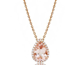 14 Karat Rose Gold 9x6mm Pear Cut Morganite Diamond Halo Solitaire Slide Pendant Necklace