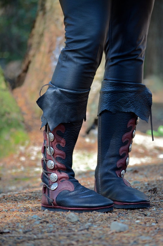Knee High Custom Viking Boots With Cuff Custom By