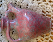 Circa 1950s California Art Pottery Mauve Teal Jug Vase Very good