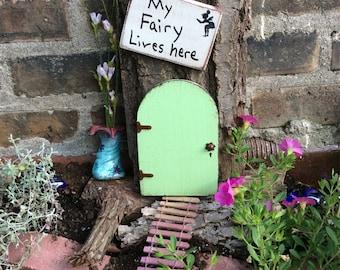 Fairy Garden door, Green fairy door with a personalized sign, fairy garden